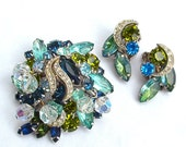 KRAMER Vintage Rhinestone Brooch Designer Signed Brooch Earrings Jewellery Set Gifts Sea Green Blue Glass