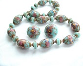 Venetian Wedding Cake Beaded Necklace Earrings Handmade Jewelry Set Baby Sky Blue Glitter Copper Gold Pink Roses