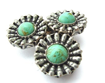 Antique Faux Turquoise Jewelry Dress Clip Southwestern 1940s Accessories