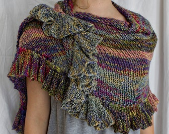 Pattern - Knitted Finch Ruffle Shawl