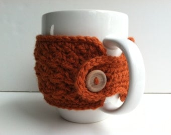 Crochet Coffee Cup Cozy - Pumpkin Eco Friendly Reusable Gift For Coffee Lovers Gift Under 10 Mug Warmer Mug Sweater Hot Chocolate Cup Cozy