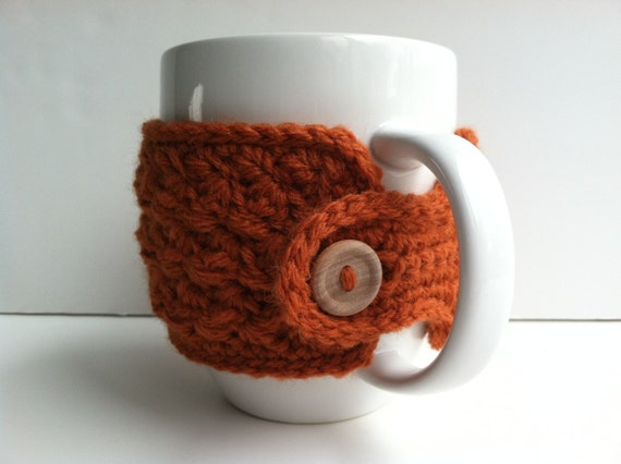Crochet Coffee Cup Cozy - Pumpkin Eco Friendly Reusable Gift For ...