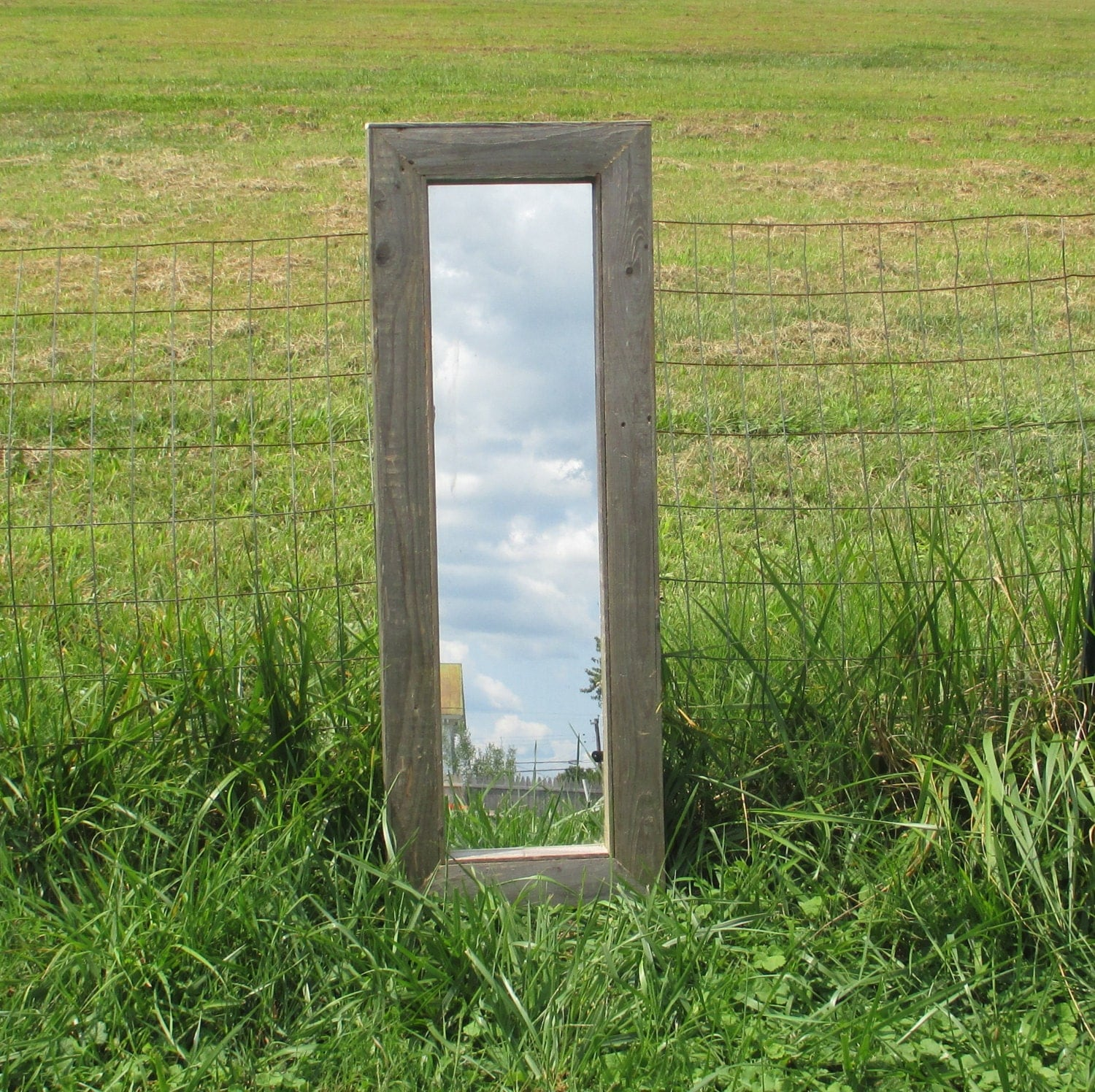 Rustic Floor Mirror Made From Reclaimed Wood Small 40 X 14