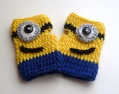 Minion Mitts - Despicably Cozy and Cute Crochet Fingerless Wristwarmers - One Size Fits Most