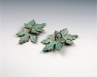 Enameled Extra small Maple Leaf  / Peppermint  / Made to order