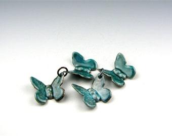 Enameled Butterflies / Teal Enamel  / Made to order