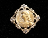 Antique French Joan of Arc Rhinestone Paste Brooch