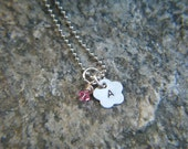 Girl's Personalized Hand Stamped Birthstone Initial Necklace