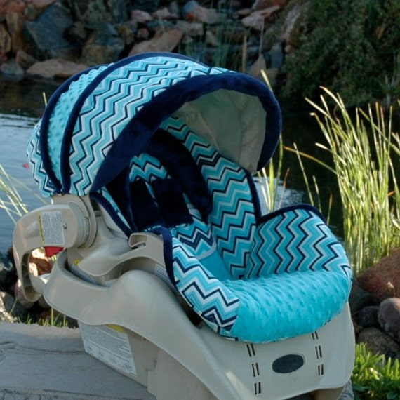 baby car seat cover blue chevron infant seat cover boy car. Black Bedroom Furniture Sets. Home Design Ideas
