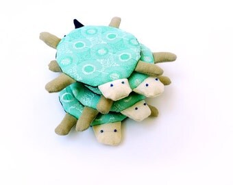 Turtle coaster, modern coaster, fabric coaster, mint coaster, unique coasters, embroidered coaster, kawaii gift, cute turtle, animal coaster