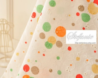 Chic Embroidery Colorful Rainbow Orange Green Dandy Dots - Japanese Embroidery Cotton Fabric (1/2 Yard)