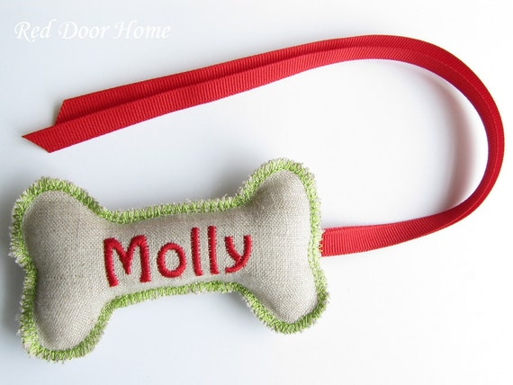 Dog Personalized Christmas Stocking Tag Embroidered Label Gift Name Monogram Ornament Green and Red