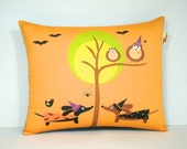 Halloween Dachshund Pillow - Doxie and Owl Friends in the Autumn Forest - Fall October Home Decor