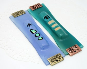 Bright  transparent blue  Hand Made Fused Glass Mezuzah case.