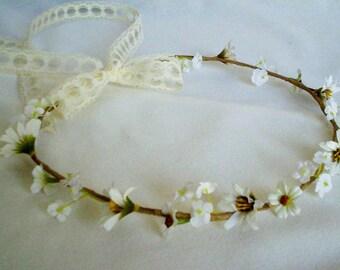 Barn Wedding Flower crown Woodland Bridal headpiece lace hair wreath Wedding accessories flower girl hair halo bridal party EDC daisy chain