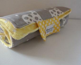 Baby Change Mat - Giraffe Grey with Yellow with white dots Minky Fabric.