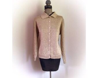 Vintage Lurex Gold Cardigan Sweater