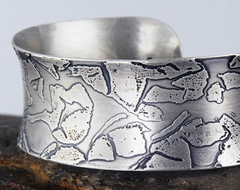 Eco Friendly Sterling Silver Cuff, Etched Sterling Silver Cuff, Recycled Silver Cuff
