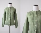 vintage sage green cable knit cardigan - 1919vintage