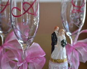 Set of Six Elegant Decorative Sliver and Pink Celebration Party Favor Wine Champange Bridesmaid Wedding Glasses