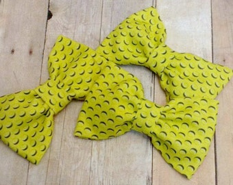 Yellow Lego Fabric Hair Bow, Girls Hairbow, Bow Tie