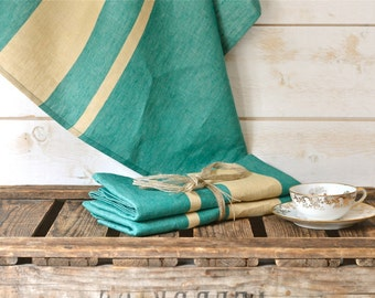 2 Green Linen Towels/ Spring Towels / Shabby chic kitchen /  as seen in Better Homes and Gardens