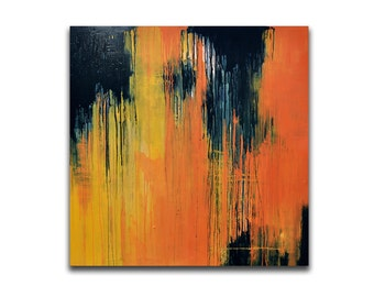 "Original Abstract Painting LARGE 39""x39"" Dark Blue, Yellow Orange Rain Painting UNSTRETCHED Rolled in a tube"