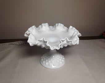 Ruffled Hobnail Milk Glass Pedestal Dish Compote Bowl