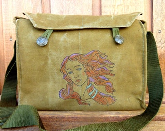 Botticelli Warhol Venus - Vintage Czech Military Messenger Bag Purse - Hand Painted