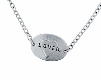 Oval Nameplate Necklace - Silver with Embossed Heart and Handstamped Letters - Personalized Custom Jewelry Handcrafted by MetalPressions
