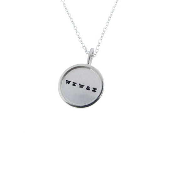 Sterling Silver Rimmed Name Necklace Custom Solid Initial Pendant Charm Personalized Hand Stamped Engraved Artisan Handmade Fine Jewelry