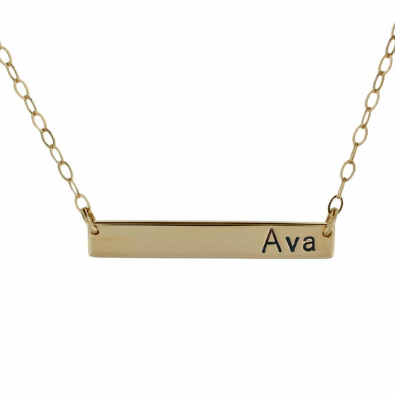 Solid Gold Nameplate Necklace Hand Stamped Horizontal 14K Bar Personalized Custom Engraved Artisan Handmade Designer Fashion Jewelry Mommy
