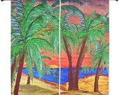 """Sunset mountain palms shear curtains available in 60"""" or 84"""" lengths"""