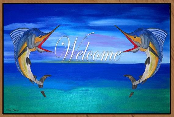Marlin Fish Welcome Floor Mat Art Area Rug Indoor Outdoor Area