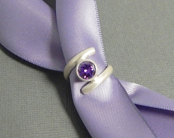Amethyst and Sterling Silver Wrap Ring Size 5.75