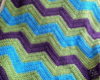 new chevron zig zag ripple baby blanket afghan wrap crochet knit wheelchair stripes VANNA WHITE yarn green purple blue handmade in USA