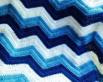 New chevron zig zag ripple baby blanket afghan wrap crochet knit wheelchair stripes VANNA WHITE yarn boy blue white handmade in USA
