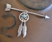 Industrial Barbell 16g 14g Earring Arrow Industrial Barbell Dream Catcher Dangle Charm Dreamcatcher Feather Turquoise Yellow Pearl Arrowhead