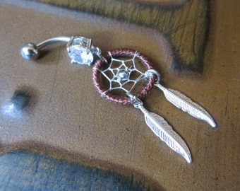 Belly Button Ring Jewelry. Brown Thread Dream Catcher Belly Button Ring- Silver Feather Dreamcatcher Opal Charm Dangle Navel Piercing Body