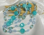 Tropical Blue Long Acrylic and Art Glass Beaded Necklace