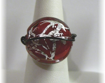 Wire Wrapped Silver And Red Glass Bead Ring Size 7 1/2