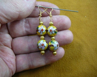 Yellow with pink white flower 12 mm Cloisonne two bead gold dangle earring pair EE-613-2
