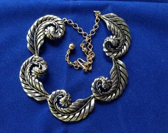 Vintage BSK Scrolled Leaf Necklace and Bracelet Set