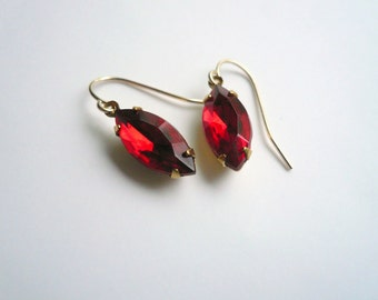 Red ruby birthstone earrings. Vintage red cut glass on new 14K gold fill ear wires. July birthstone jewelry.