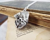 Acorn Kisses - Glass Acorn, Thimble, Double Heart and Antiqued Sterling Silver Plated Locket Necklace