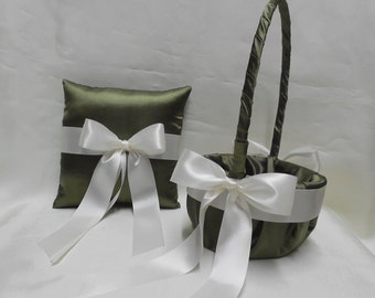 Weddings Bridal Accessories Olive Green Ivory Flower Girl Basket Ring Bearer Pillow Your Colors