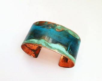 "The Original Patina Cuff - Mixed Verdigris - 1.25"" Copper Cuff"