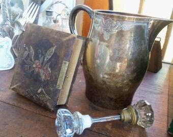 SALE - Shabby Victorian Ornate Silverplate Pitcher from Rustysecrets