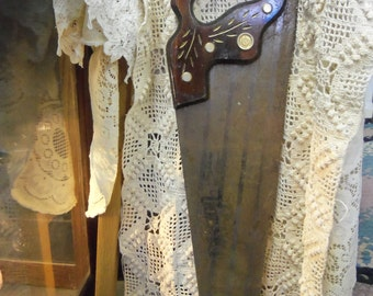 Gorgeous Antique Disston Hand Saw With Engraved Wooden Handle from Rustysecrets