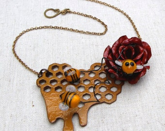The Flower and the Bee Necklace